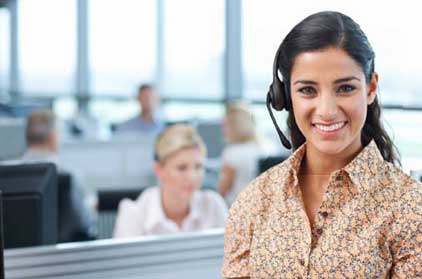 Image of call center gal wearing headset.