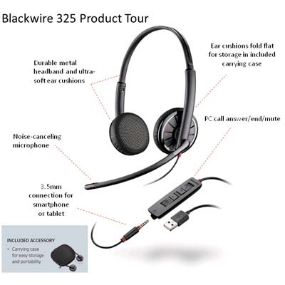 C325 has USB and 3.5mm connection for ultimate versatility