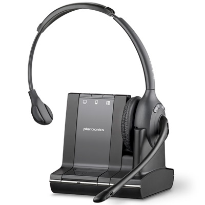 Plantronics Savi W710 wireless office headset has a rechargeable, replaceable battery